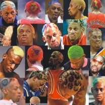 Dennis Rodman dyed his hair a different color(s) before every game. I like Bert adjacent to the top left corner
